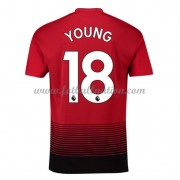 Premier League Fotballdrakter Manchester United 2018-19 Ashley Young 18 Hjemme Draktsett..